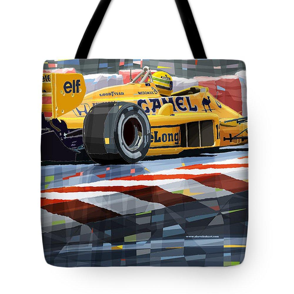 Automotive Tote Bag featuring the digital art Lotus 99t 1987 Ayrton Senna by Yuriy Shevchuk