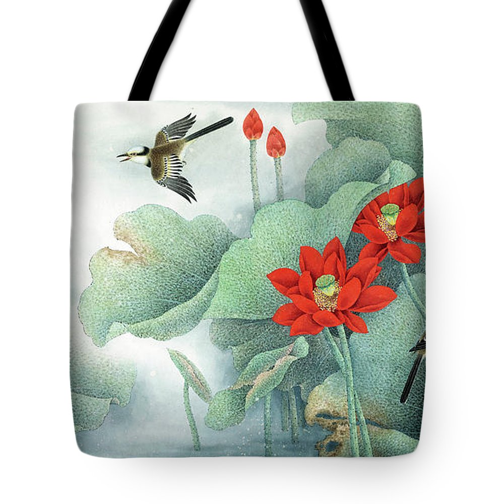 Lotus And Kingfisher Tote Bag featuring the painting Lotus And Kingfisher by Dong Xiyuan
