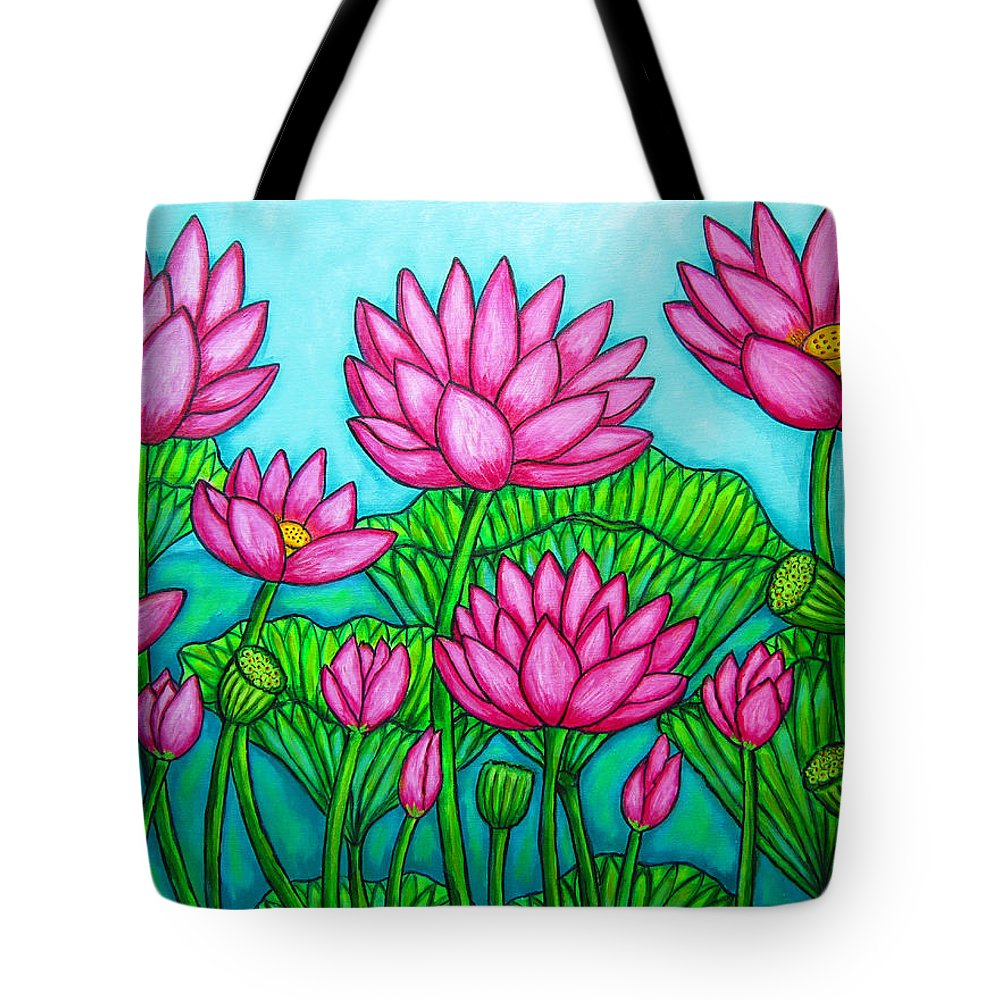 Lotus Tote Bag featuring the painting Lotus Bliss II by Lisa Lorenz