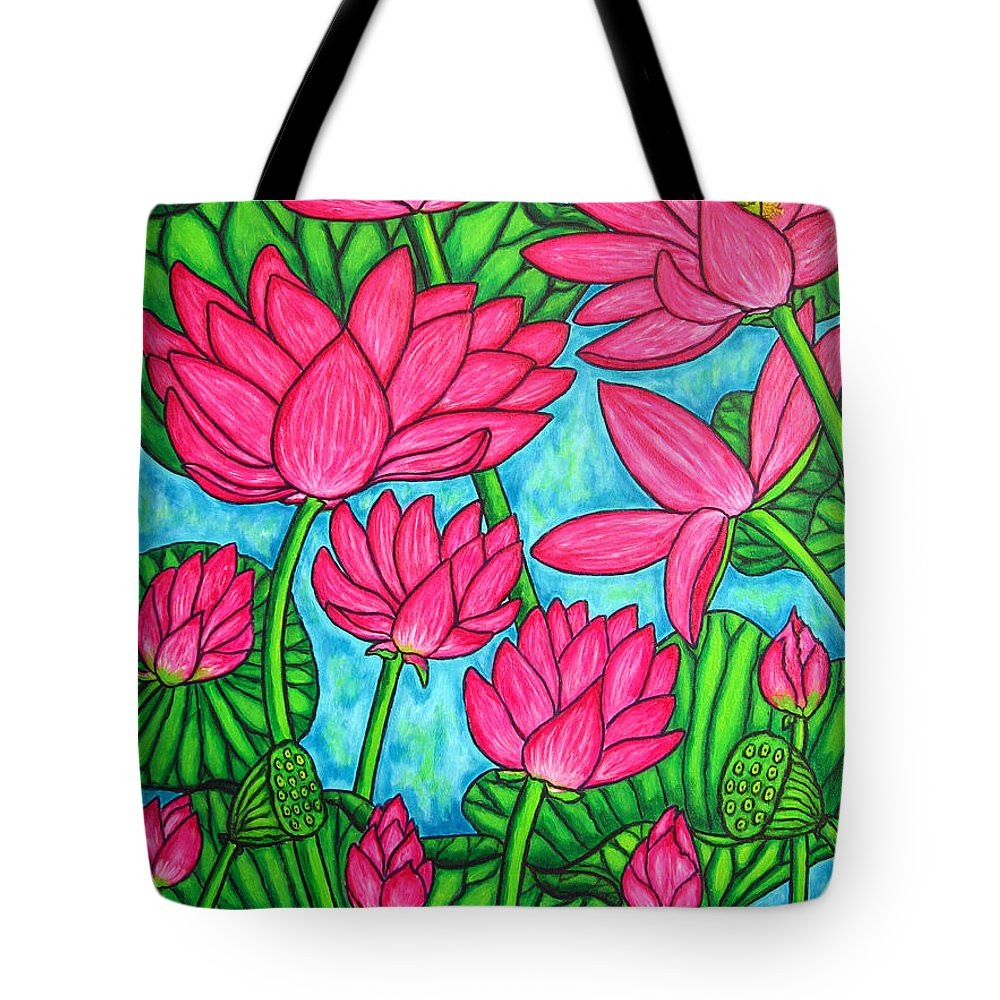 Tote Bag featuring the painting Lotus Bliss by Lisa Lorenz