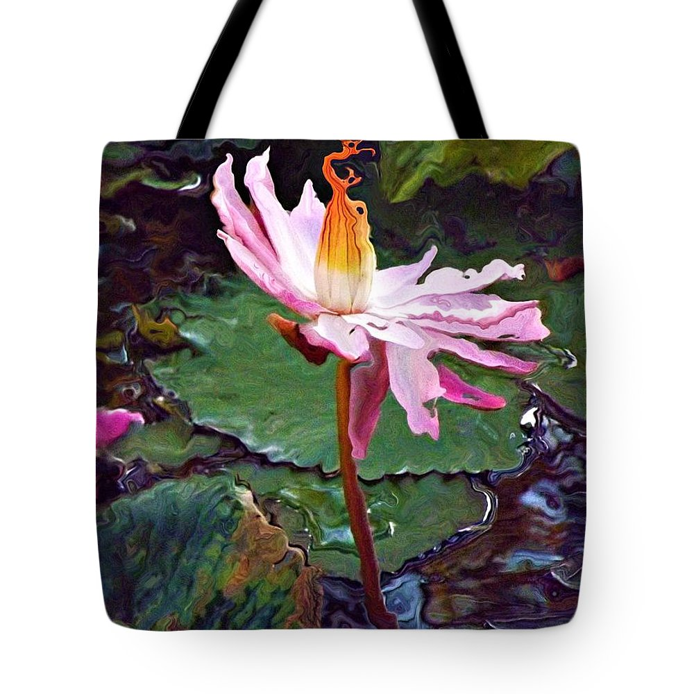 Water Lily Tote Bag featuring the photograph Lotus Fire by Chris Crowley