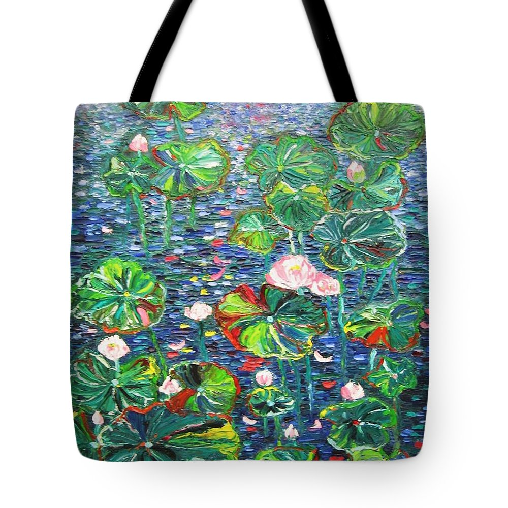 Water Lily Paintings Tote Bag featuring the painting Lotus Flower Water Lily Lily Pads Painting by Seon-Jeong Kim
