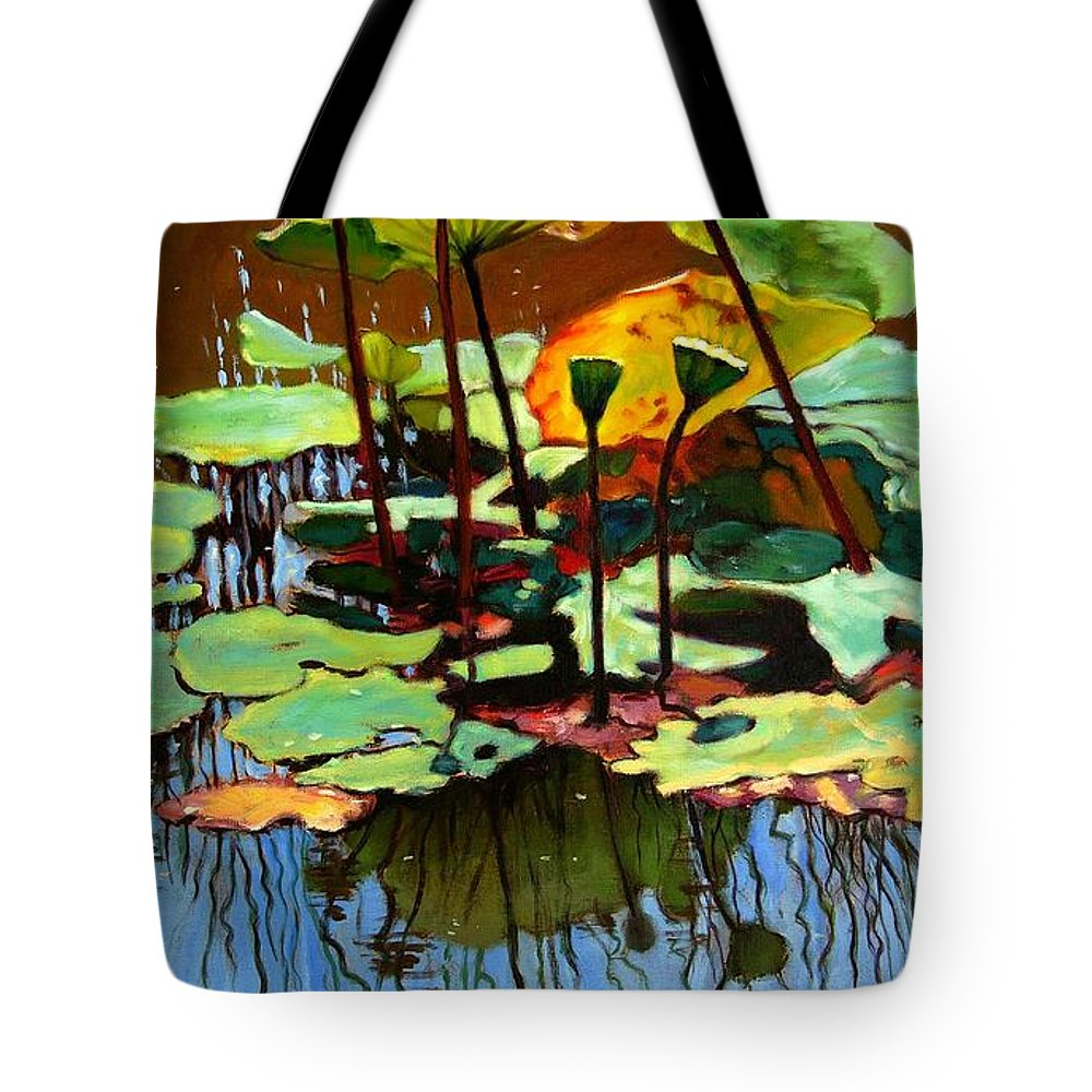 Lotus Flower Tote Bag featuring the painting Lotus In July by John Lautermilch