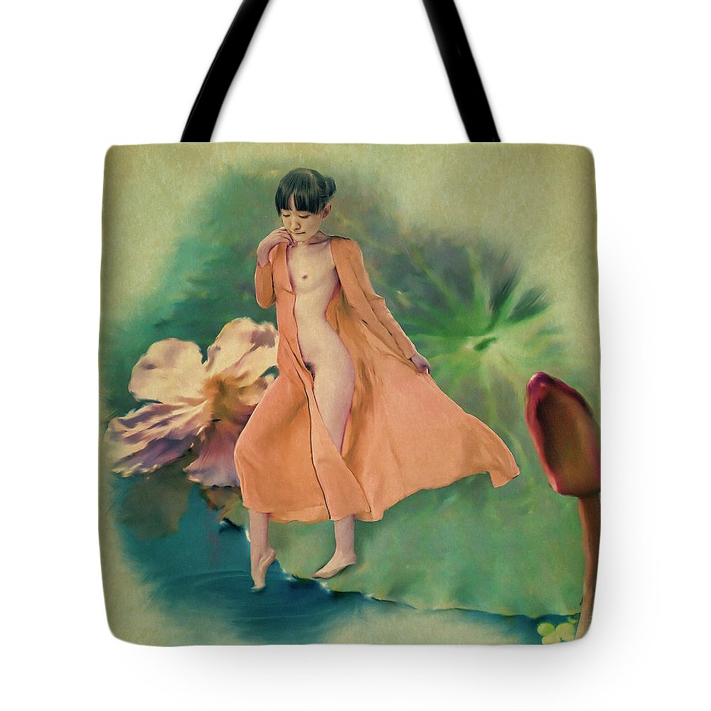 Salome Tote Bag featuring the painting Lotus Maiden by Salome Hooper