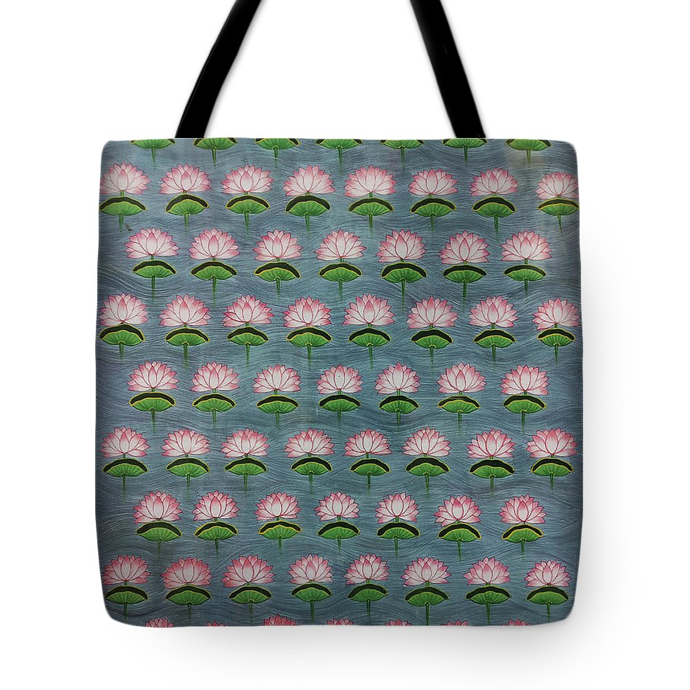 Pichwai Tote Bag featuring the painting Lotus Pichwai Miniature by The Kaarigars