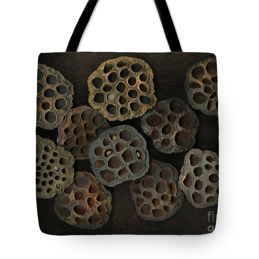 Lotus Tote Bag featuring the photograph Lotus Pods by Christian Slanec