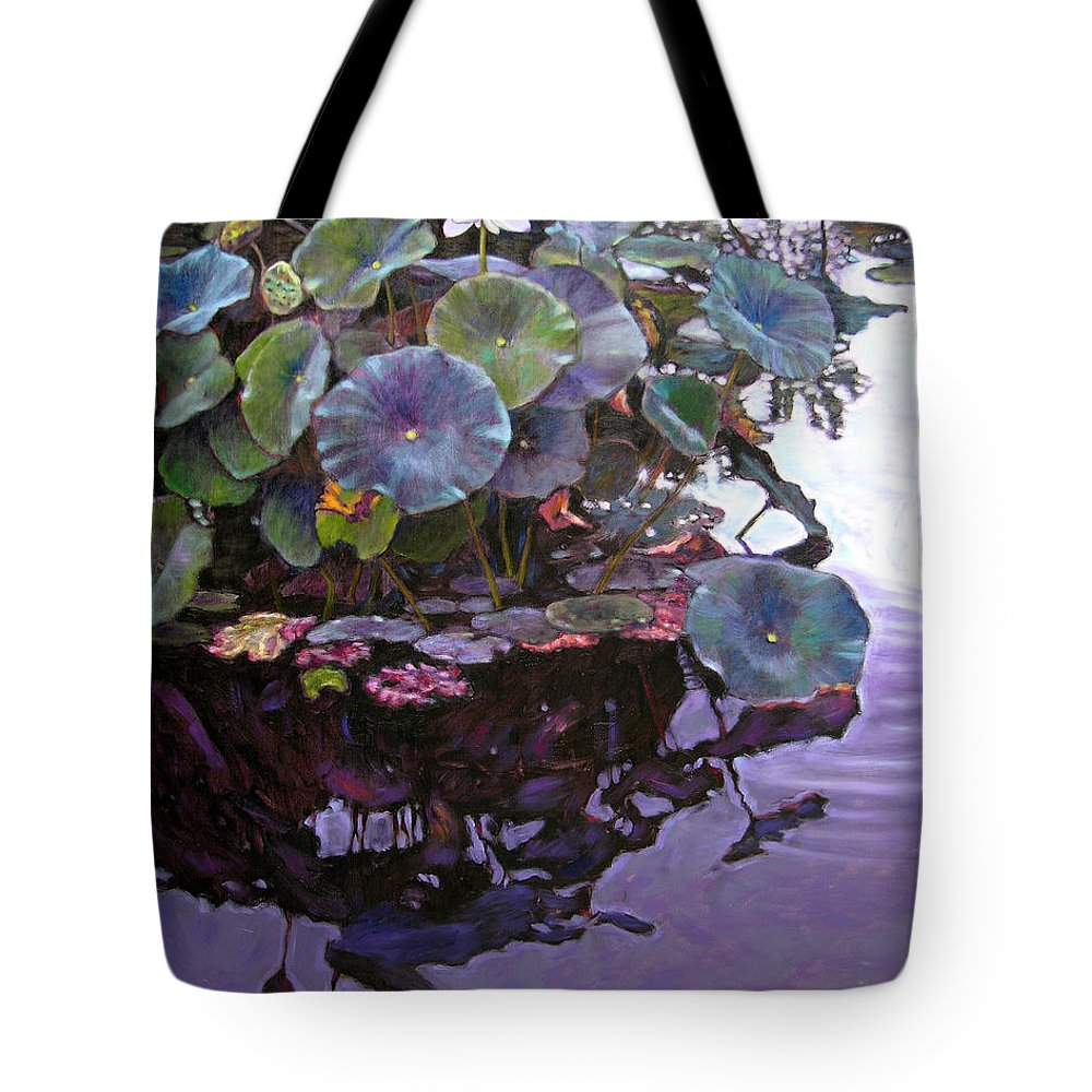 Lotus Flower Tote Bag featuring the painting Lotus Reflections by John Lautermilch