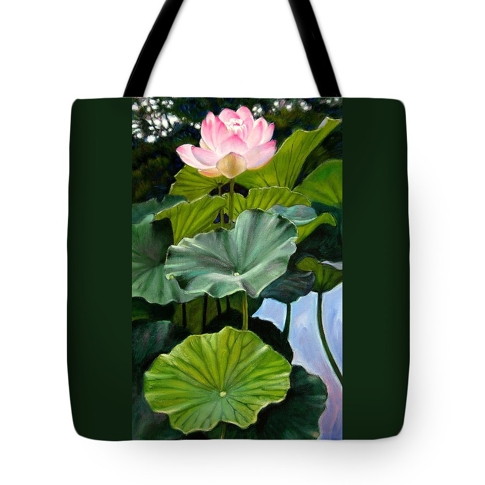 Lotus Flower Tote Bag featuring the painting Lotus Rising by John Lautermilch