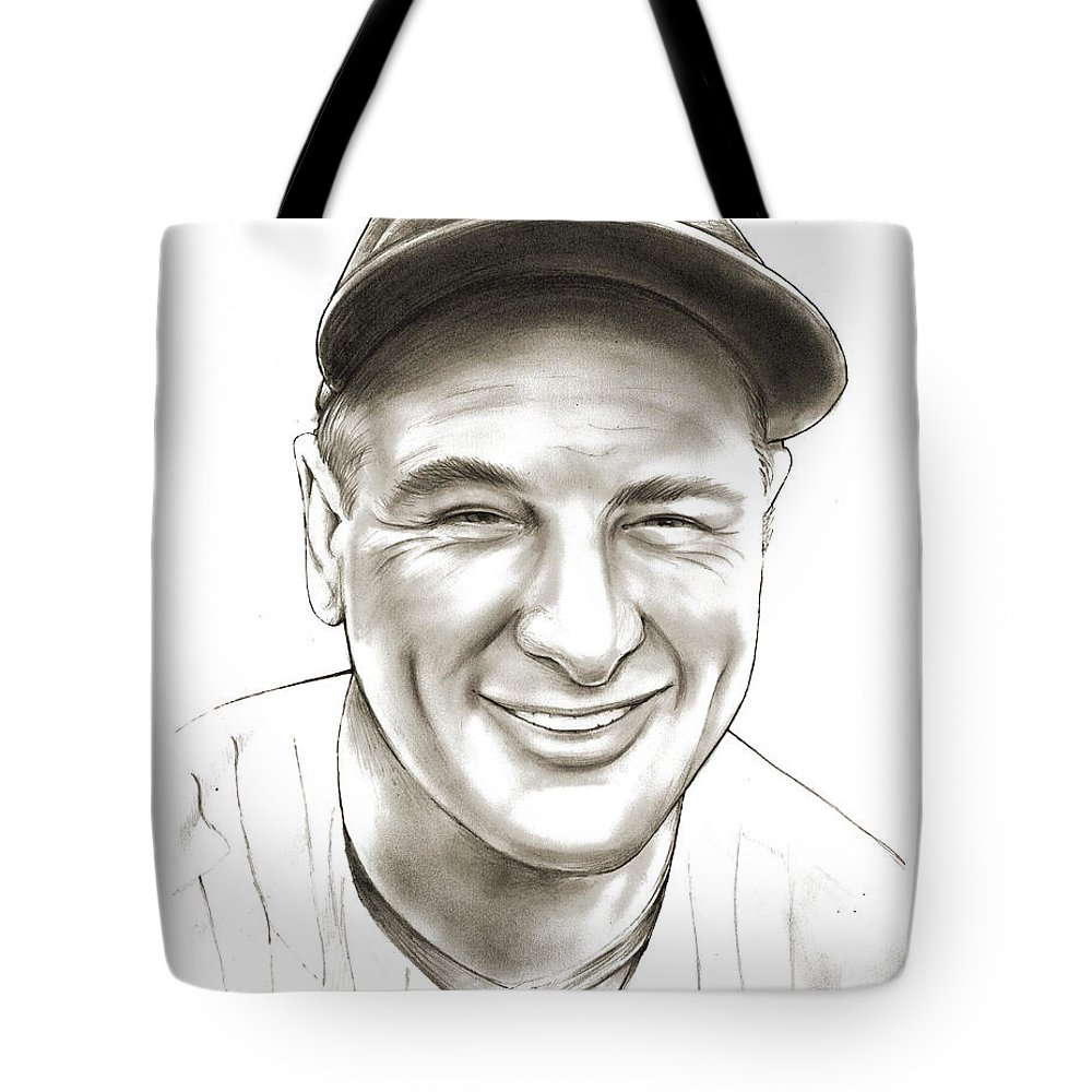 Lou Gehrig Tote Bag featuring the drawing Lou Gehrig by Greg Joens