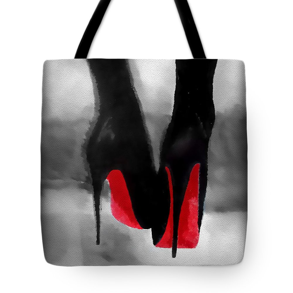 Fashion Tote Bag featuring the mixed media Louboutin At Midnight Black And White by My Inspiration