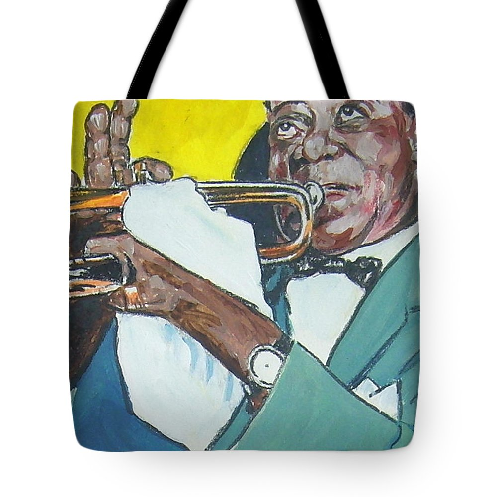 Louis Armstrong Tote Bag featuring the painting Louis Armstrong by Bryan Bustard