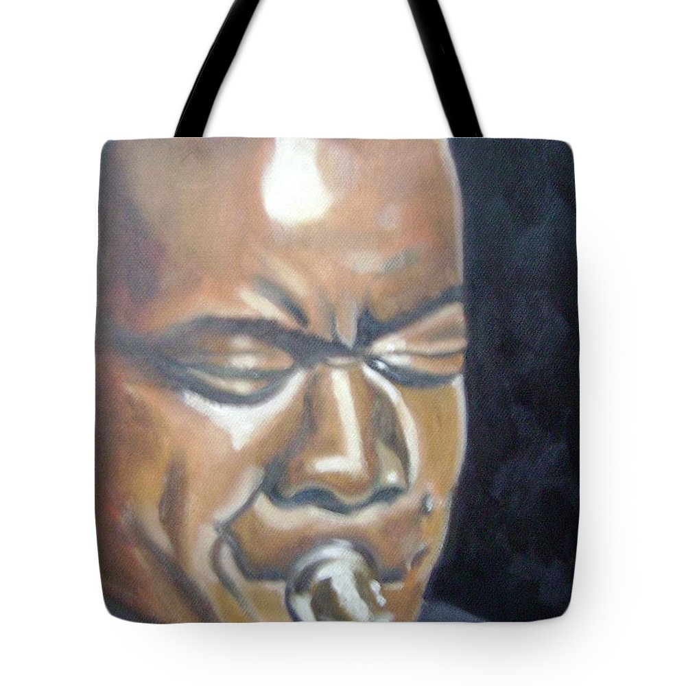 Louis Armstrong Tote Bag featuring the painting Louis Armstrong by Toni Berry