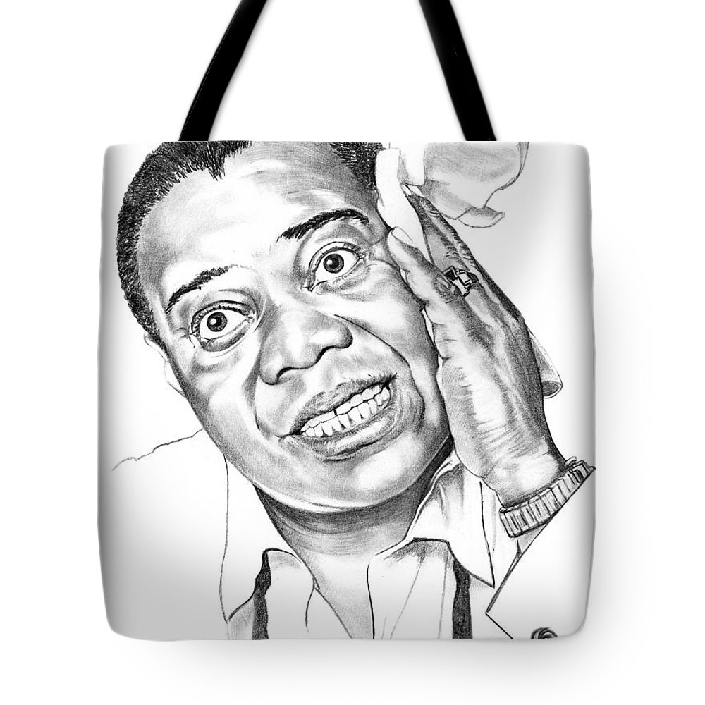 Music Tote Bag featuring the drawing Louis Satchmo Armstrong by Murphy Elliott