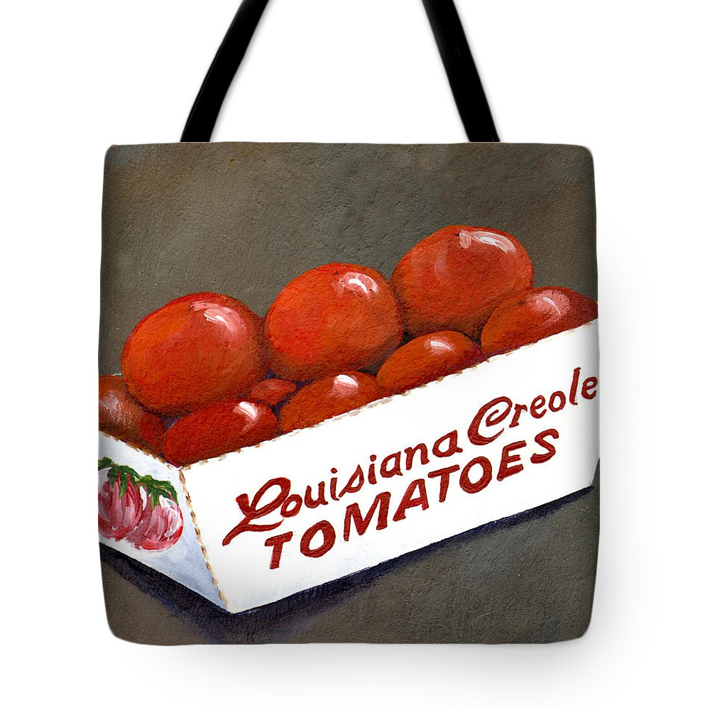 Tomatoes Tote Bag featuring the painting Louisiana Creole Tomatoes by Elaine Hodges