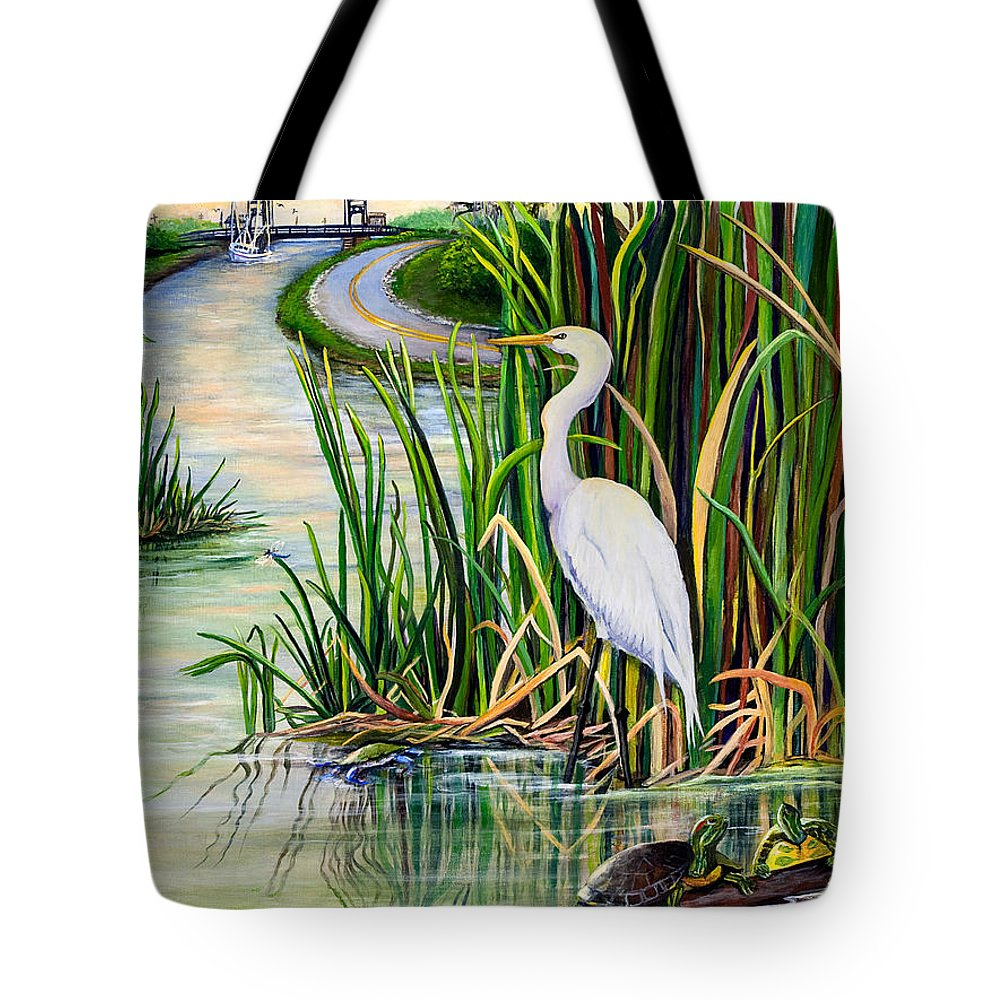 Louisiana Tote Bag featuring the painting Louisiana Wetlands by Elaine Hodges