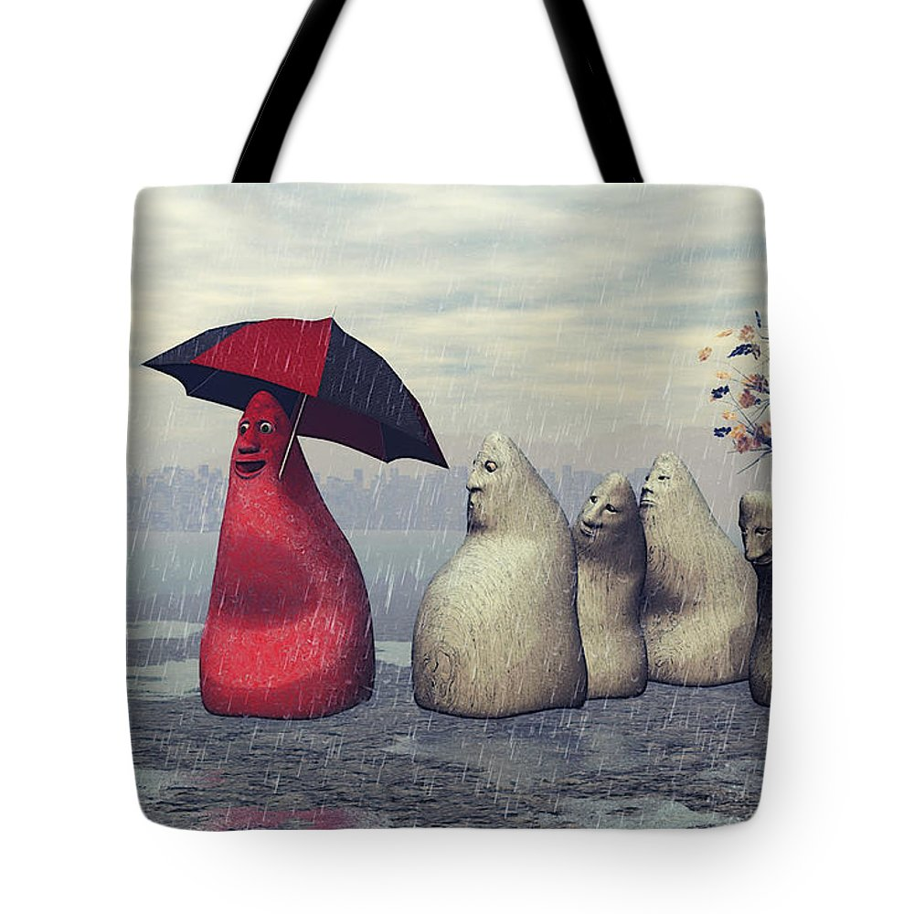 3d Tote Bag featuring the digital art Lousy Weather by Jutta Maria Pusl