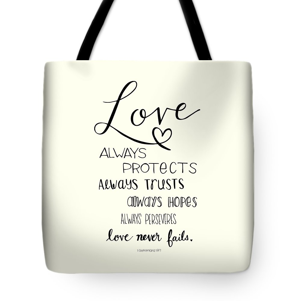 Hand Lettered Tote Bag featuring the drawing Love Always by Nancy Ingersoll