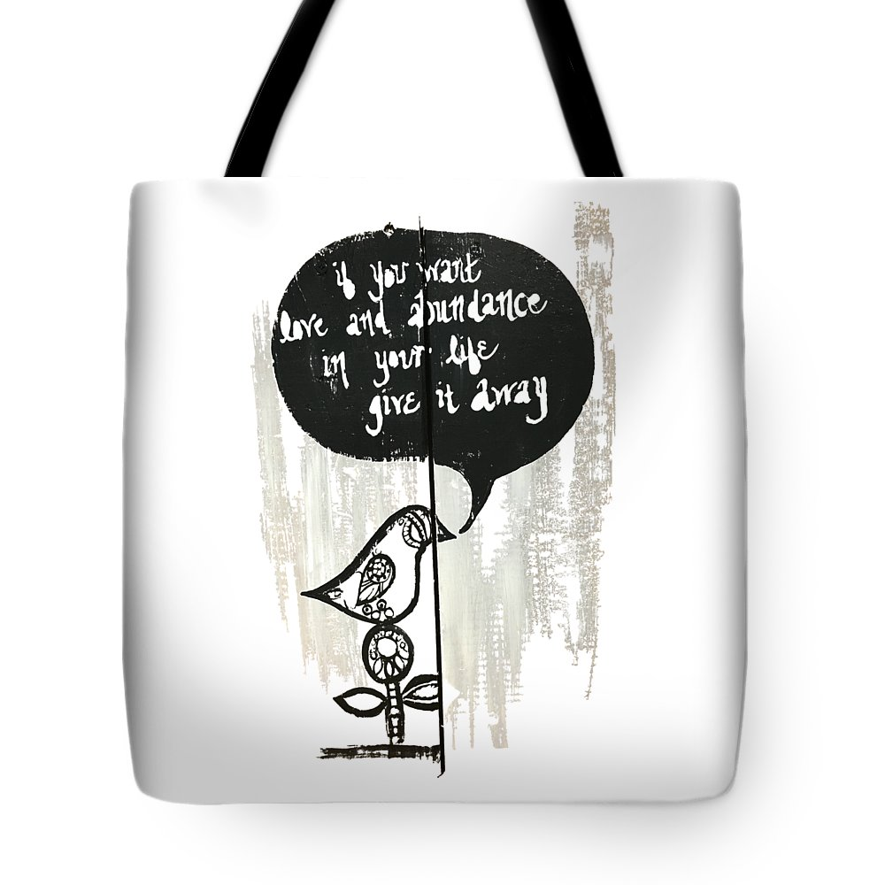 Bird Painting Tote Bag featuring the painting Love And Abundance by Ashley Galloway