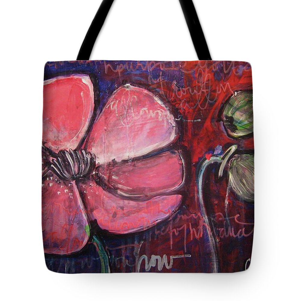 Purple Tote Bag featuring the painting Love And Live With Purpose Poppies by Laurie Maves ART