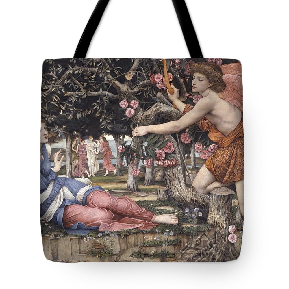 Love And The Maiden - John Roddam Spencer Stanhope Tote Bag featuring the painting Love And The Maiden by MotionAge Designs