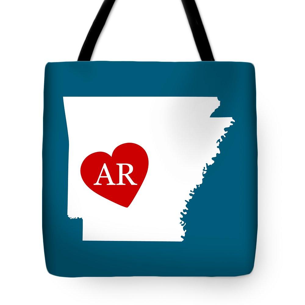 Arkansas Tote Bag featuring the digital art Love Arkansas White by Custom Home Fashions