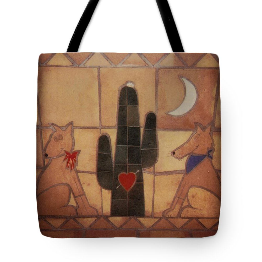 Tile Art Tote Bag featuring the relief Love At Frist Sight by Patrick Trotter
