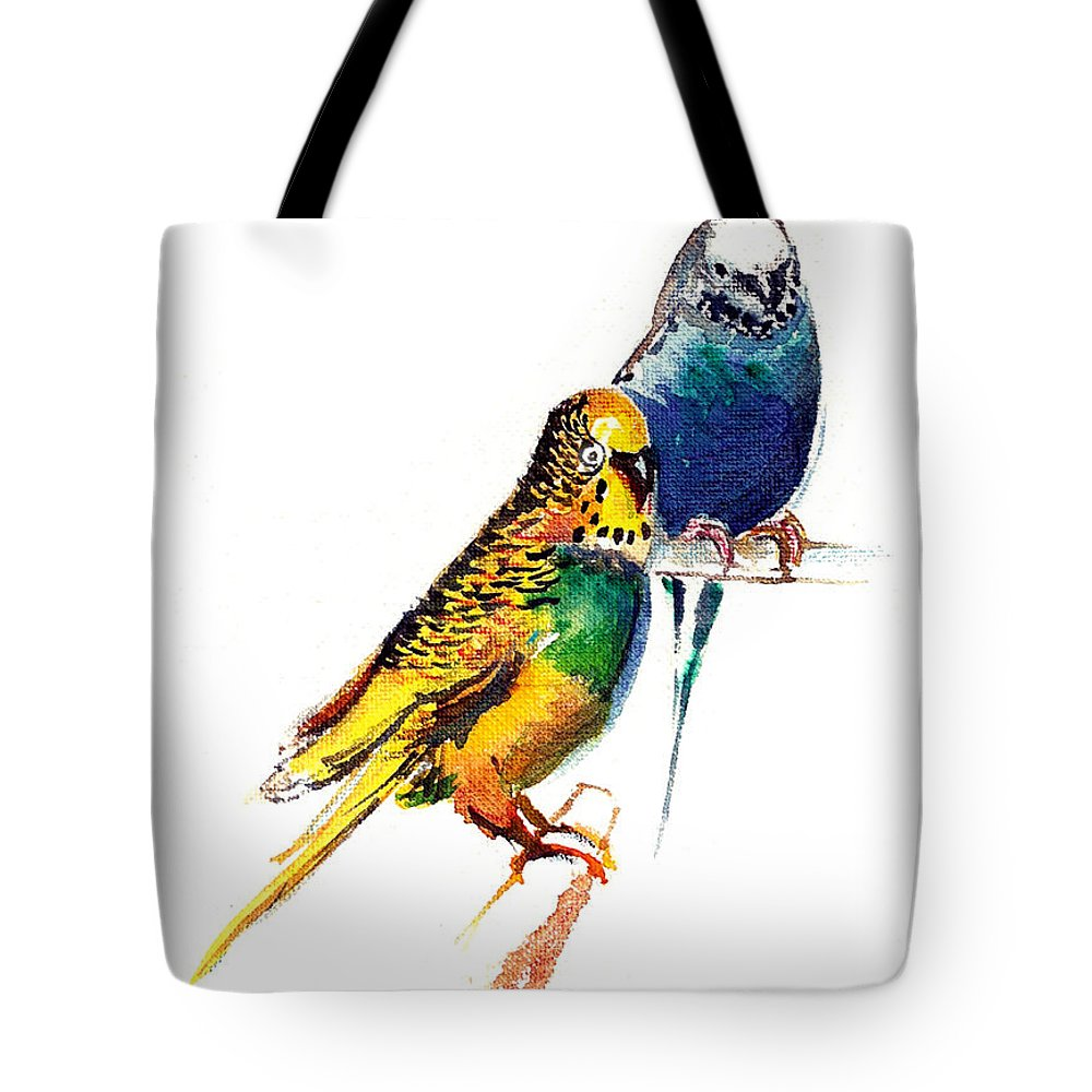 Nature Tote Bag featuring the painting Love Birds by Anil Nene