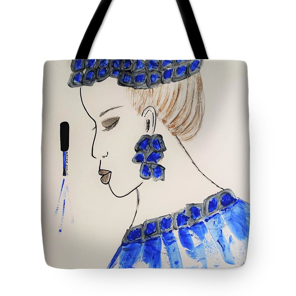 Love Tote Bag featuring the painting Love Blue by Jasna Gopic