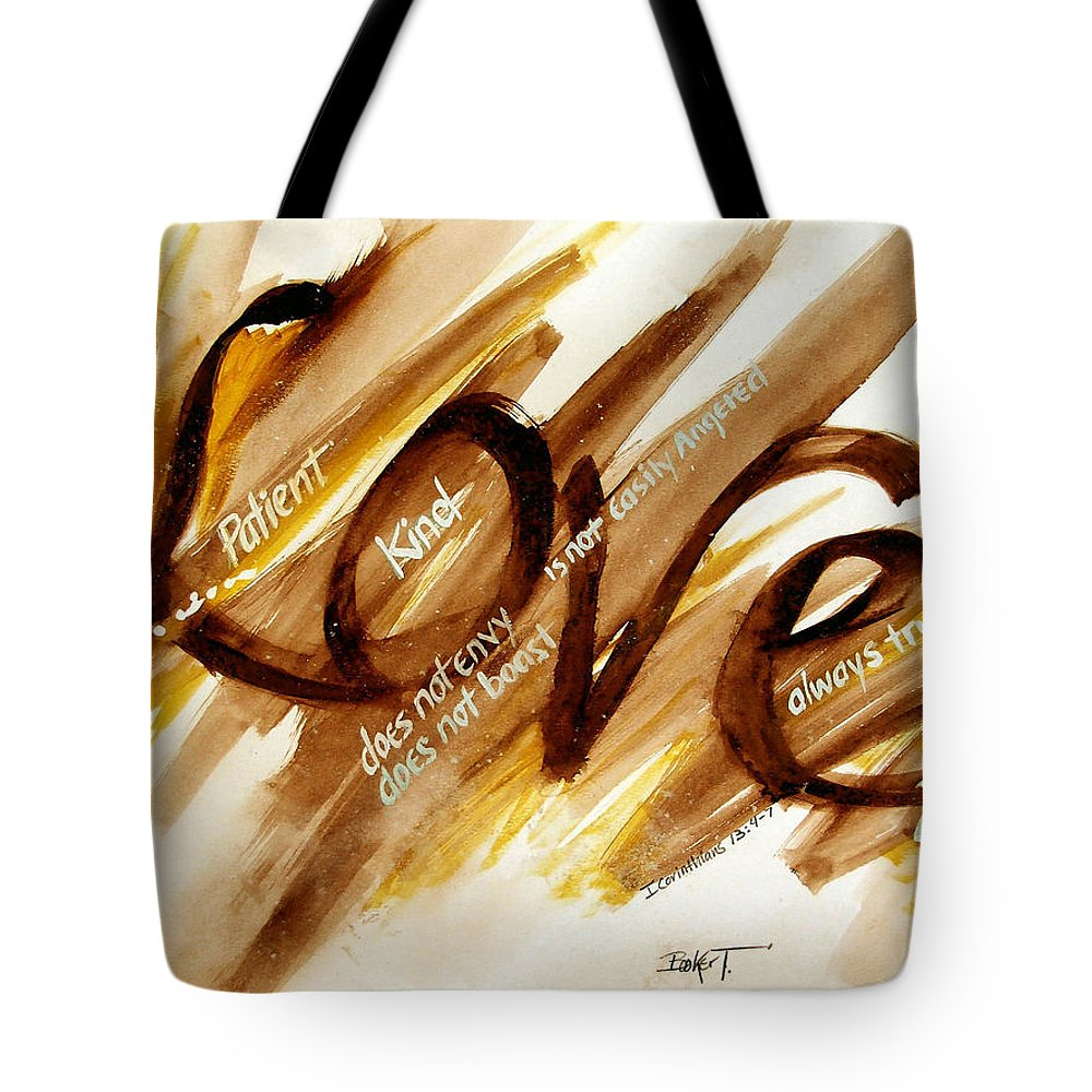 Watercolor Tote Bag featuring the painting Love by Booker Poole