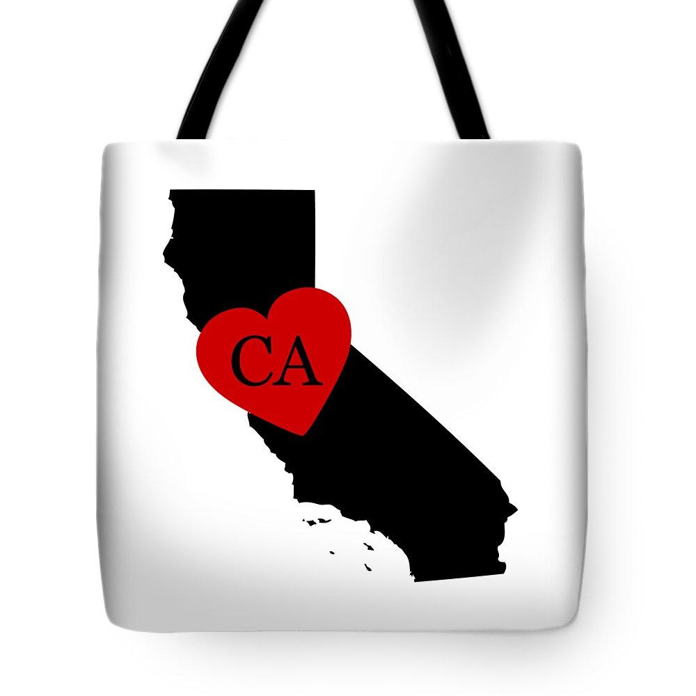 California Tote Bag featuring the digital art Love California Black by Custom Home Fashions