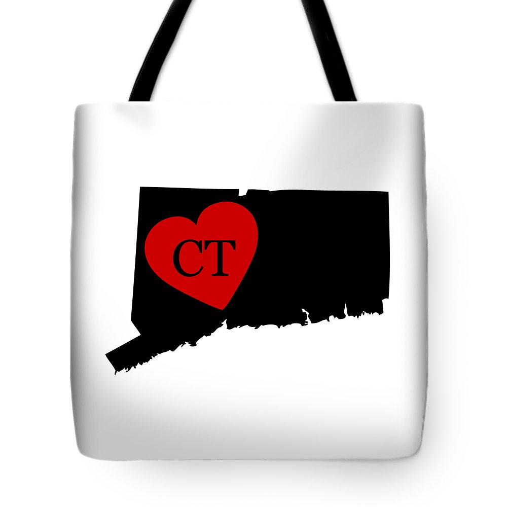 Connecticut Tote Bag featuring the digital art Love Connecticut Black by Custom Home Fashions