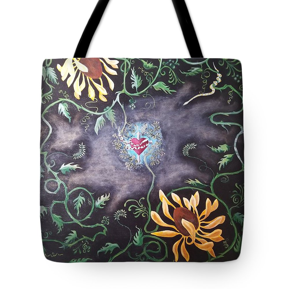 Flower Tote Bag featuring the painting Love Demise by Ron Tango Jr