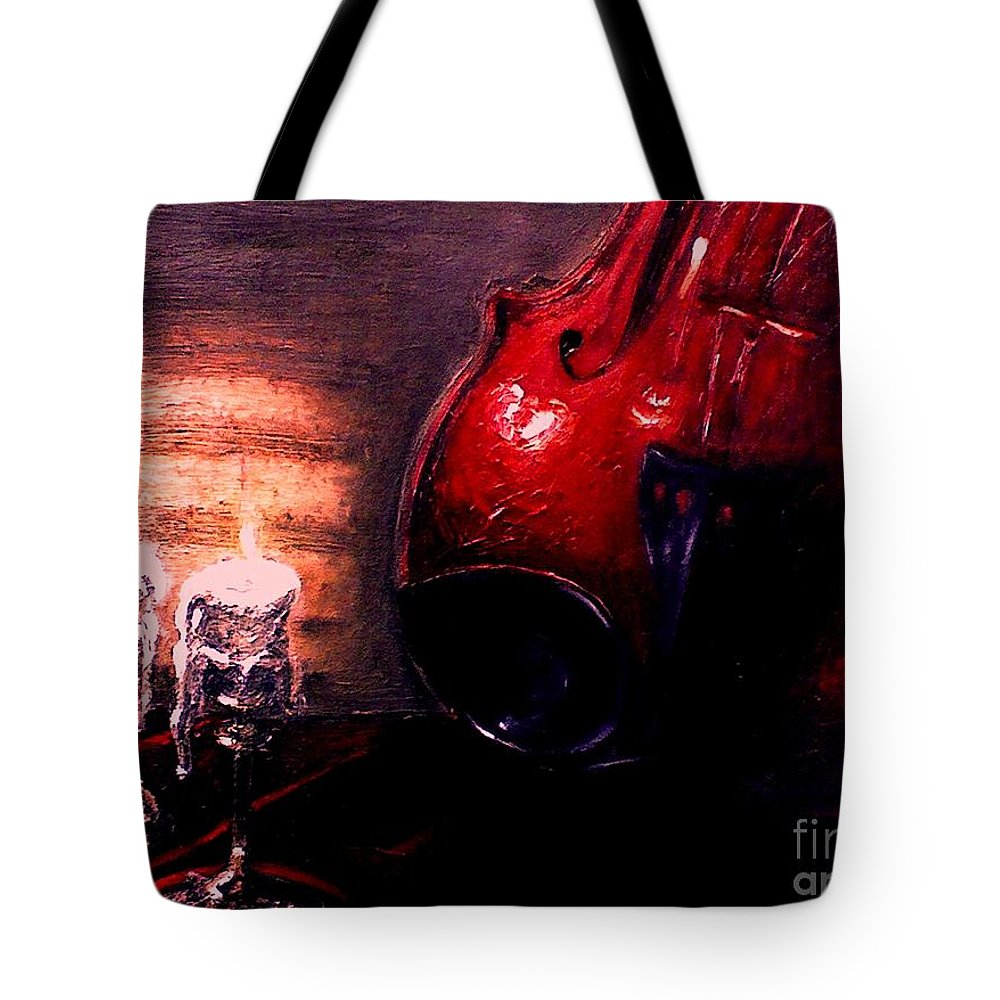 Love Tote Bag featuring the painting Love For Music by Patricia Awapara