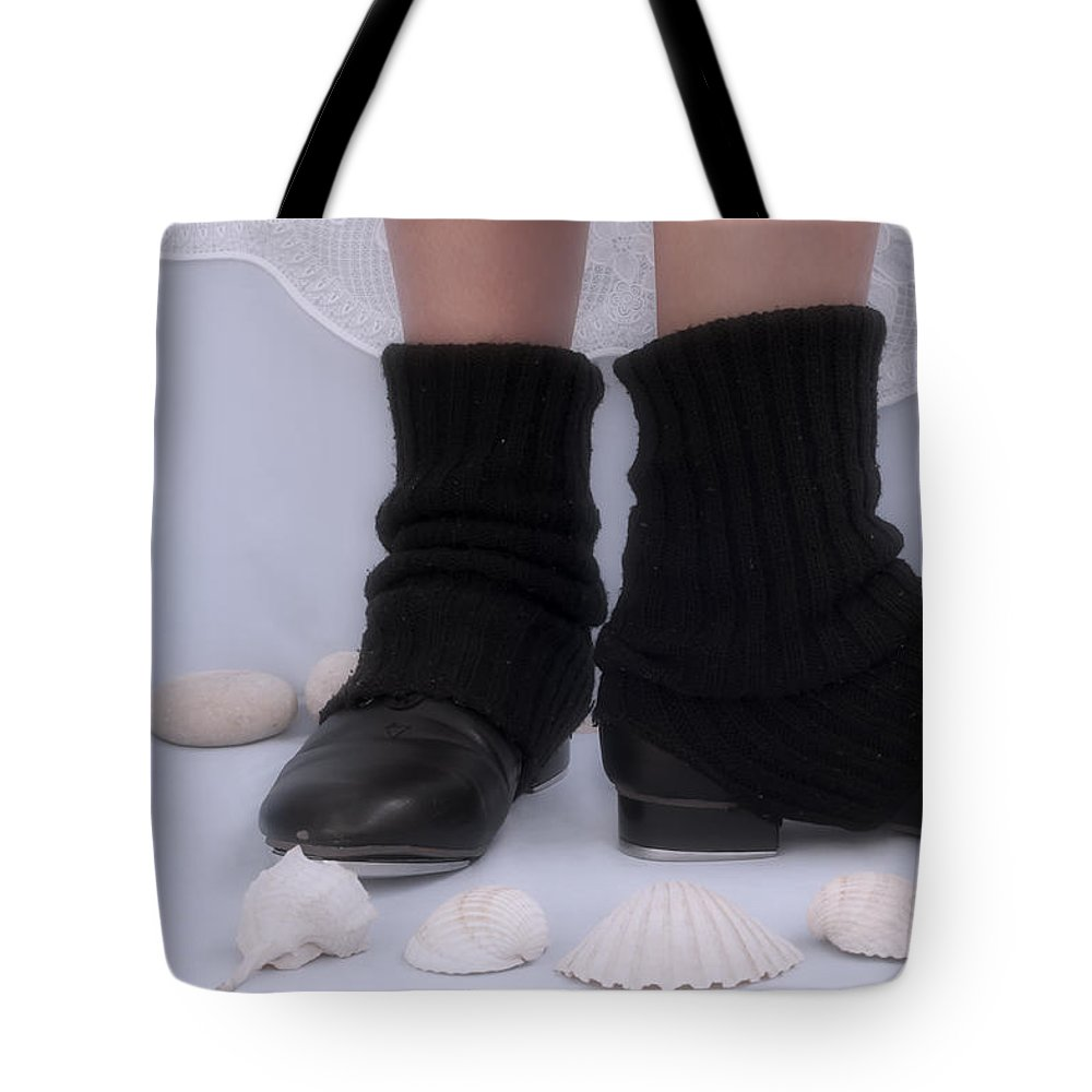 Black Tote Bag featuring the photograph Love For Tap Dance Shoes In Dance Warmers by Pedro Cardona Llambias