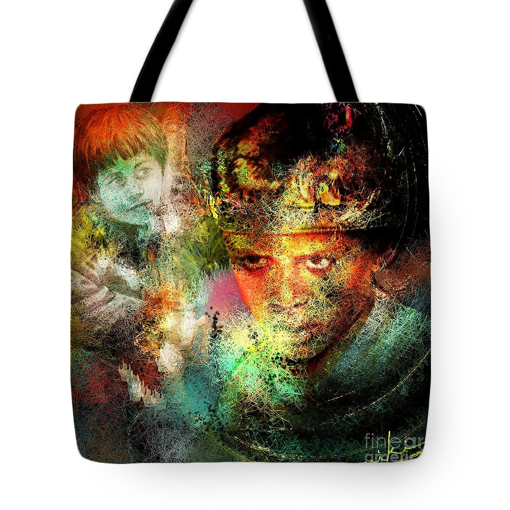 Portrait Tote Bag featuring the painting Love For The Boy King by Miki De Goodaboom