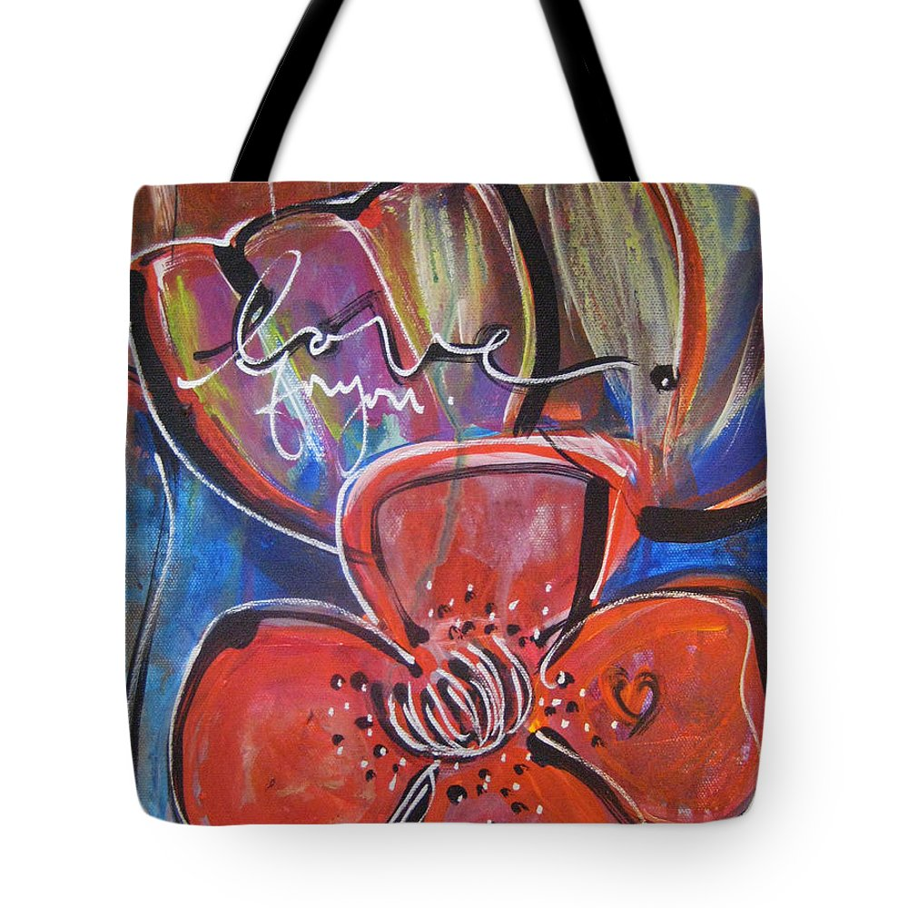 Poppies Tote Bag featuring the painting Love For You No.1 by Laurie Maves ART
