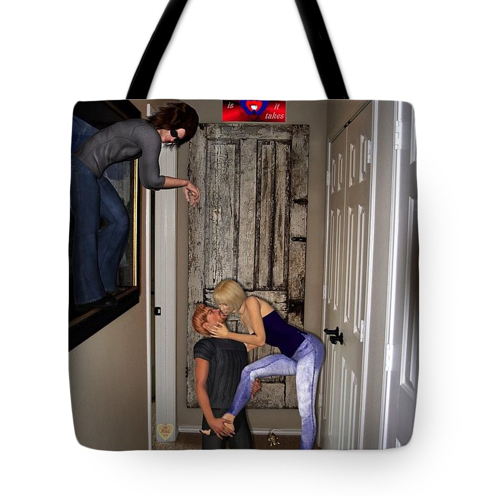 Digital Tote Bag featuring the digital art Love Is All It Takes by RiaL Treasures
