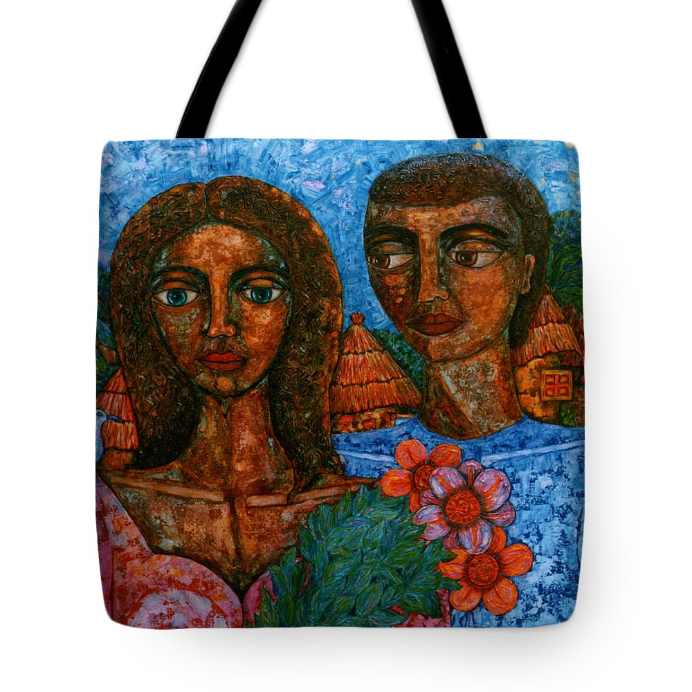Love Tote Bag featuring the painting Love Is Like A Bird by Madalena Lobao-Tello