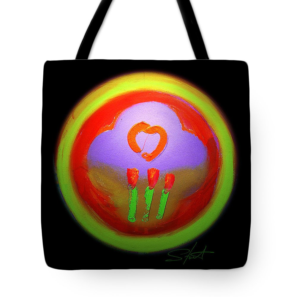 Love Tote Bag featuring the painting Love Landscape Three by Charles Stuart