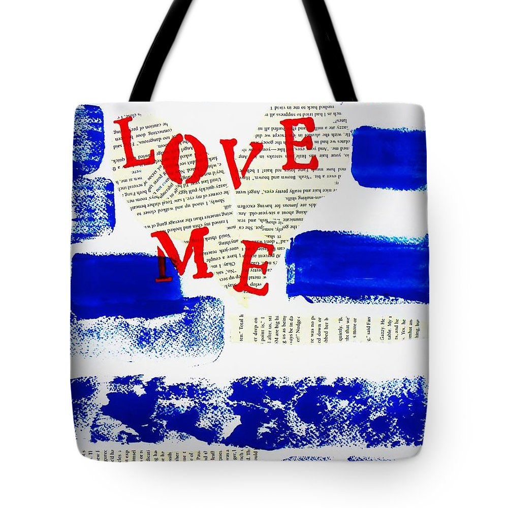 Blue Tote Bag featuring the painting Love Me by Cristina Stefan