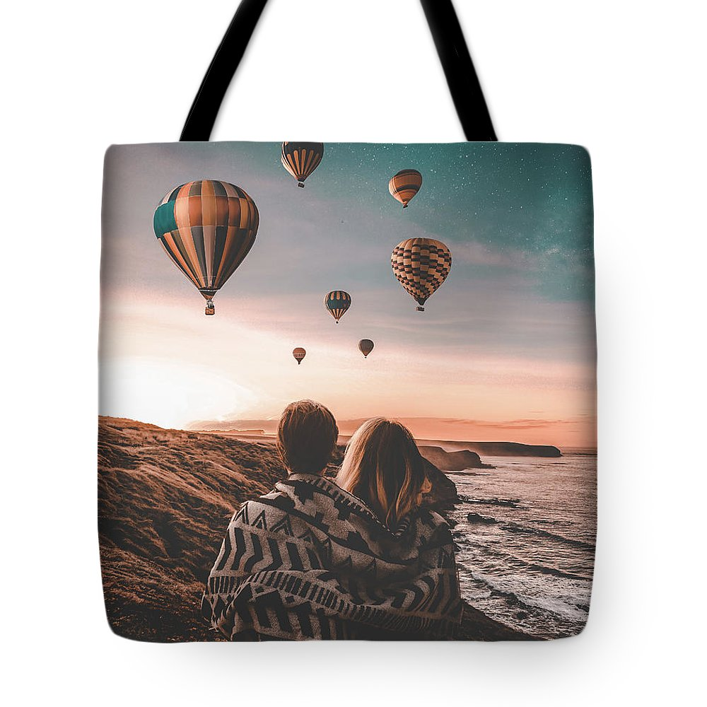 Love Ocean Wave Man Girl Sky Stars Hill Balloon Tote Bag featuring the digital art Love by Morgan Dmc