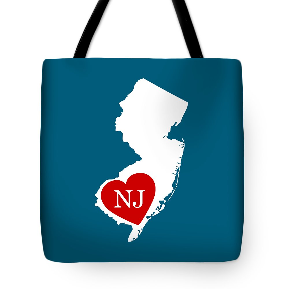 New Jersey Tote Bag featuring the digital art Love New Jersey White by Custom Home Fashions