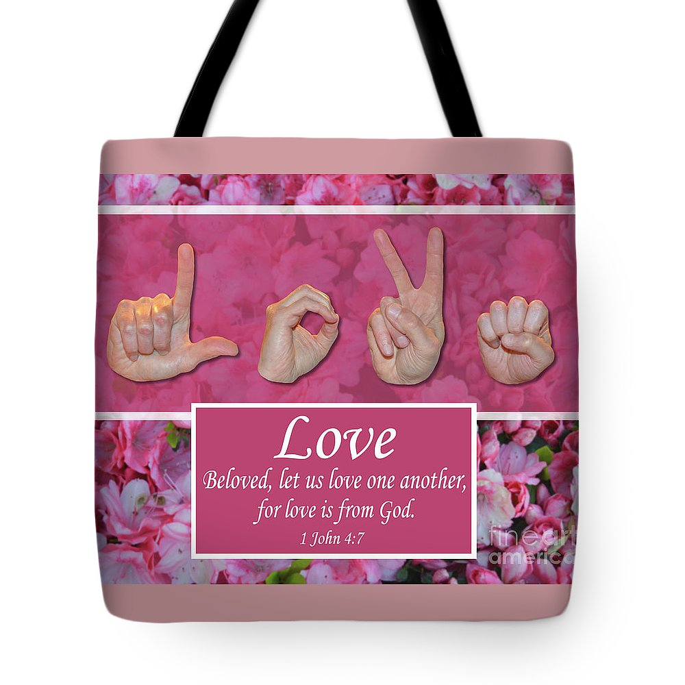 Christian Tote Bag featuring the photograph Love One Another by Master's Hand Collection