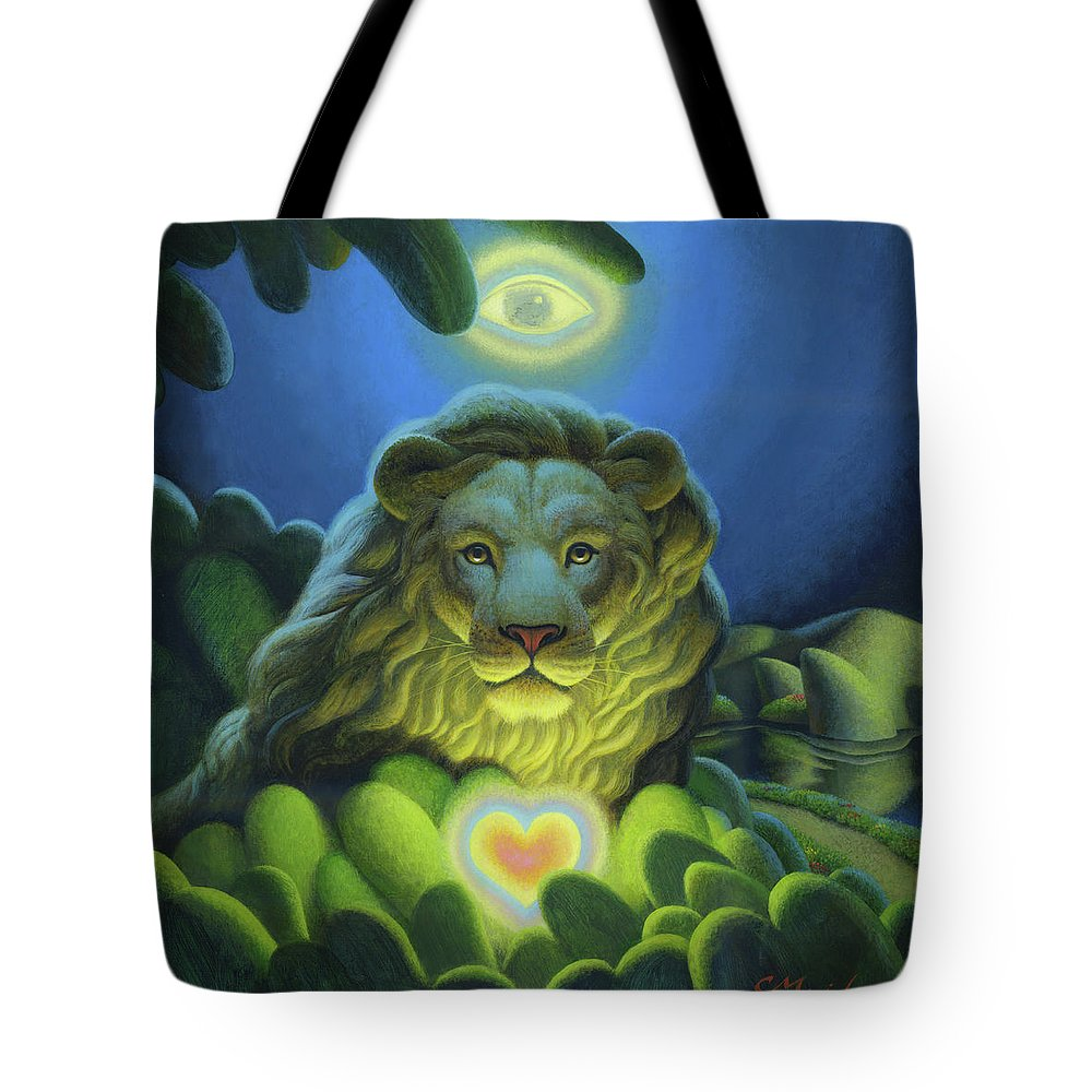 Lion Tote Bag featuring the painting Love, Strength, Wisdom by Chris Miles