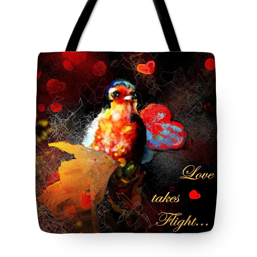 Love Tote Bag featuring the painting Love Takes Flight by Miki De Goodaboom