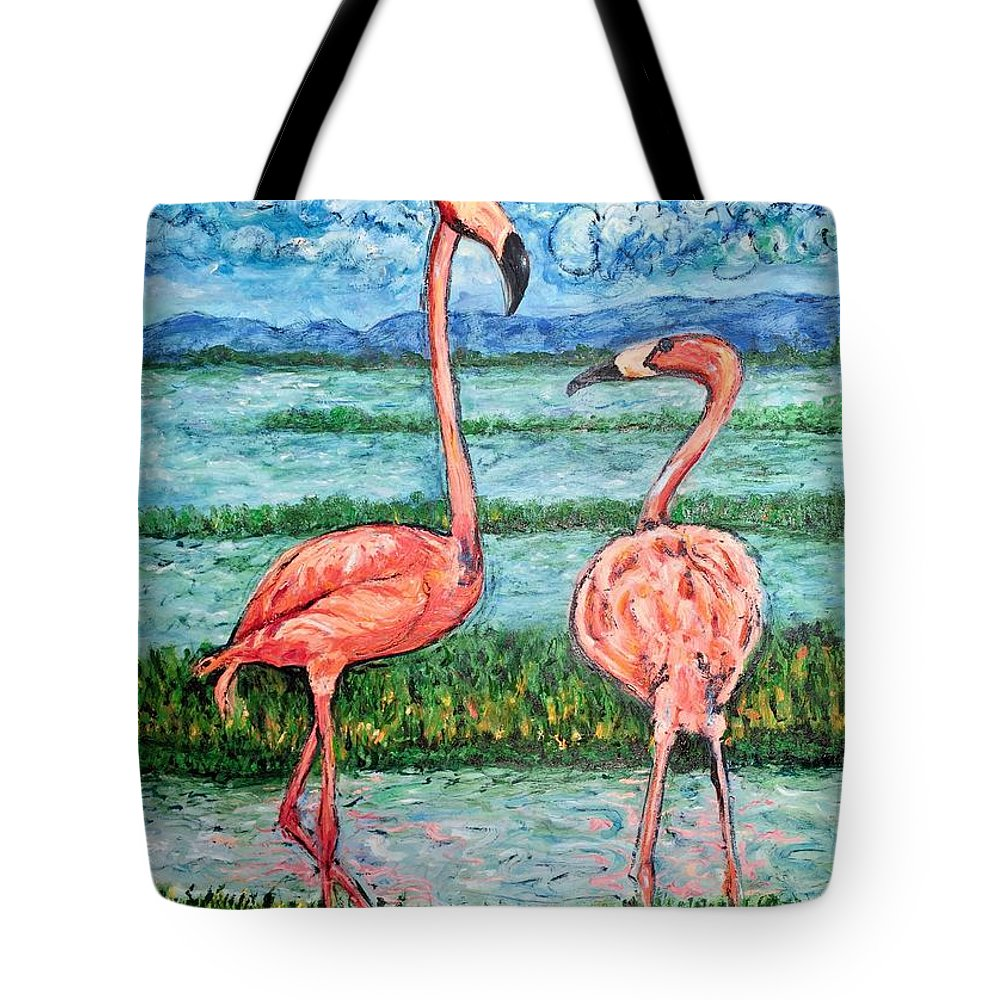 Lanscape Tote Bag featuring the painting Love Talk by Ericka Herazo