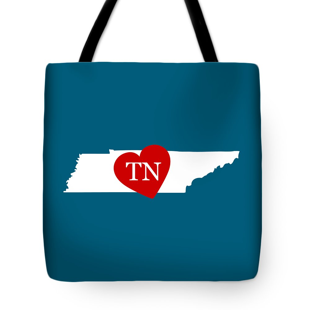 Tennessee Tote Bag featuring the digital art Love Tennessee White by Custom Home Fashions