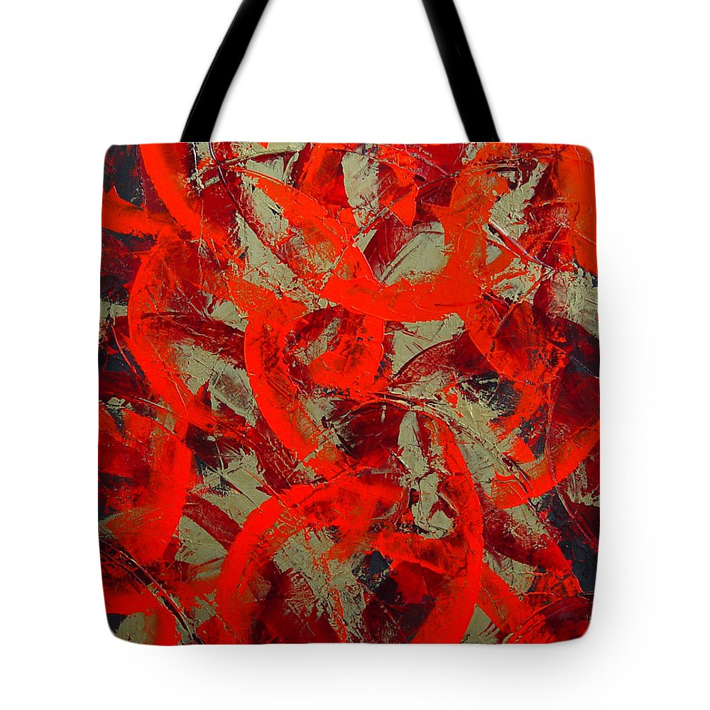 Abstract Tote Bag featuring the painting Love Trails by Dean Triolo