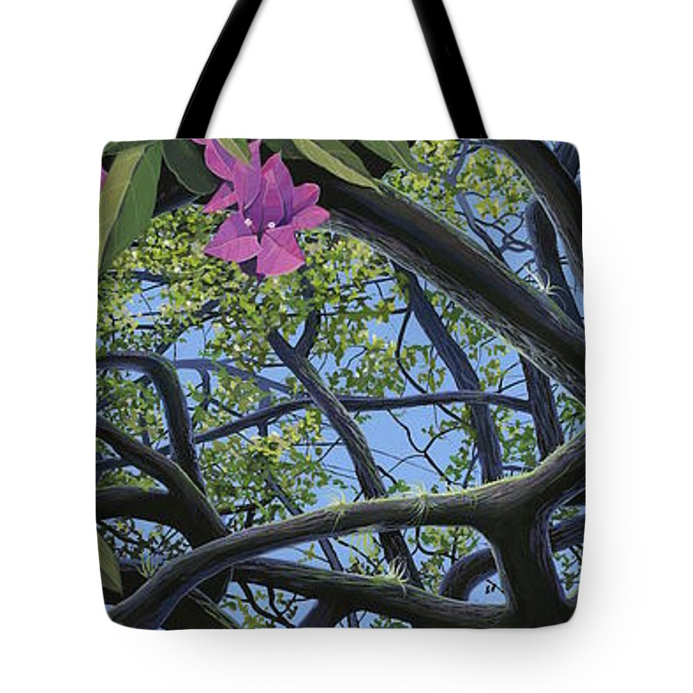 Bougainvillea Tote Bag featuring the painting Love Voodoo by Hunter Jay