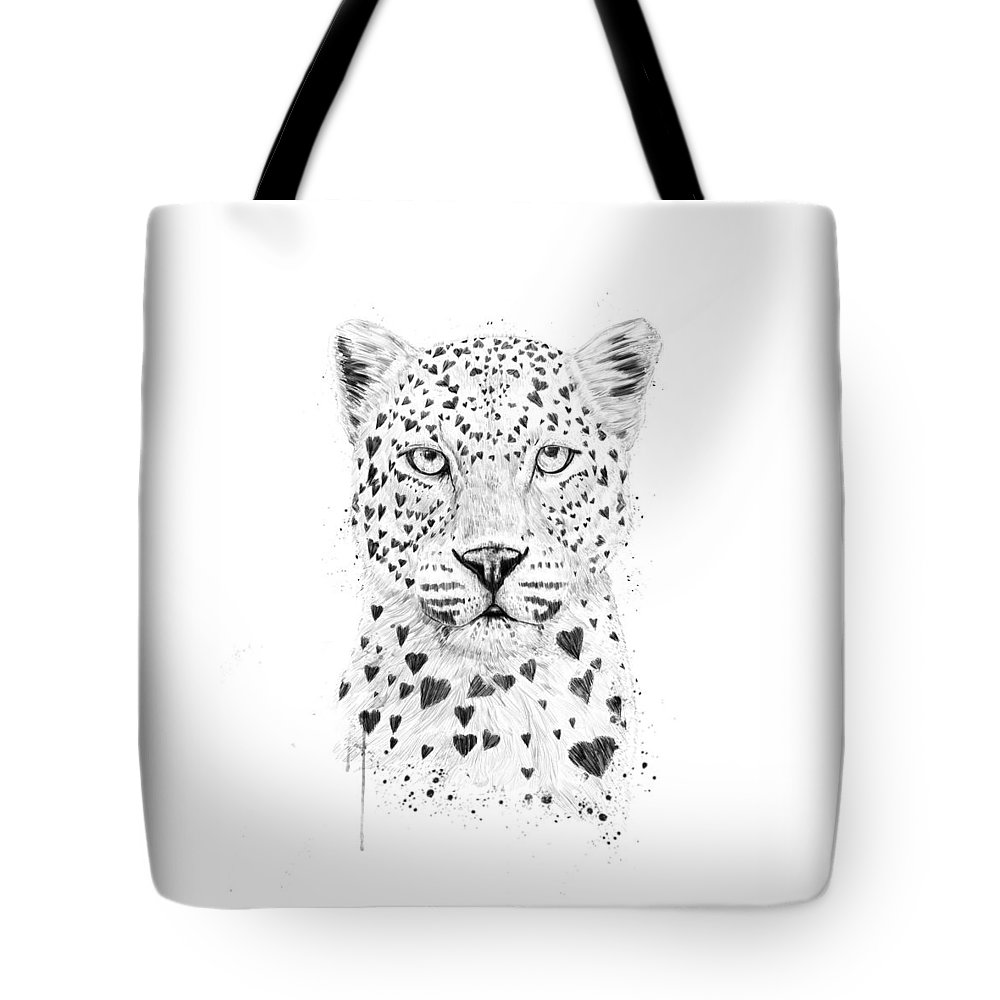 Leopard Tote Bag featuring the drawing Lovely leopard by Balazs Solti